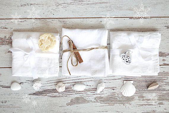 15 % OFF LINEN TOWELS set of 3 - Hand / face linen towels - Home Spa accessories - Pure white linen towels - Organic linen