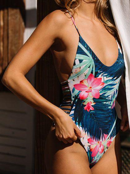 Chicnico Sexy Big Floral Print Multi Color One Piece Bikini
