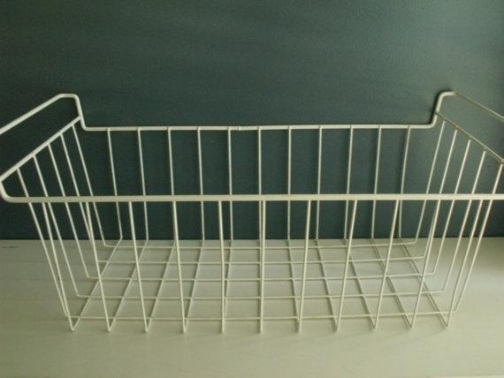 Vintage Wire Basket White Metal Bin Storage Utility by KTsAttic, $21.00