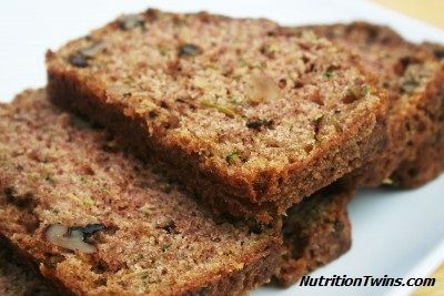 Zucchini-licious Banana Bread | Skinny and Satisfying Treat for just 138 calories-- and healthy too!  www.NutrititonTwins.com
