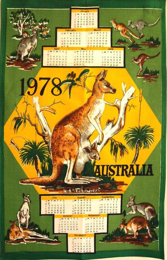 Retro 1978 Australia Kangaroo Calendar Map Kitsch by FunkyKoala