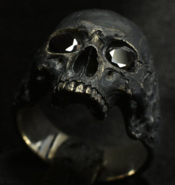 Mid size half jaw skull rings with black gemstones... Amazing work by Demitri B. In To The Fire Jewelry....