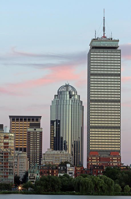 Boston skyline photography showing the Prudential Center at sunset with pink clouds on a beautiful night in August 2013.  >>> www.RothGalleries.com