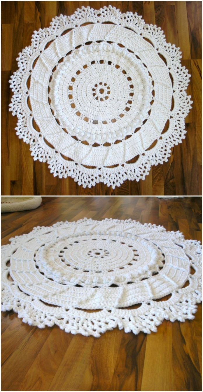 Giant Crochet Doily Rug Free Pattern The Whoot Crochet Rug Patterns Free Crochet Rug Patterns Crochet Doily Rug