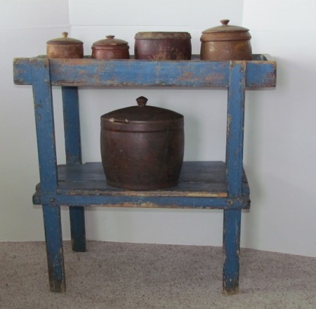 Small Blue Painted Dry Sink Bucket Bench Antiques
