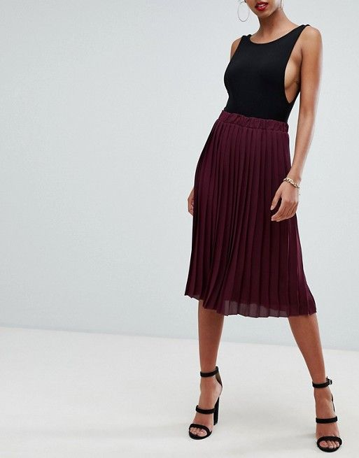 1ed3c184af8f2d Boohoo exclusive pleated midi skirt in burgundy in 2019 | Style ...