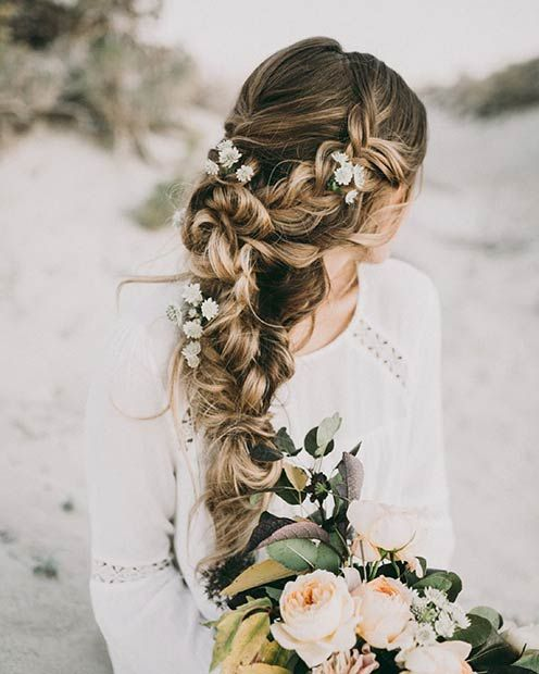 Rustic Wedding Hairstyle to the Side