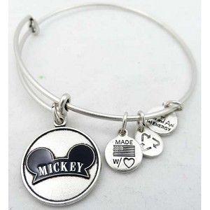 Disney Alex and Ani Charm Bracelet - Mickey Mouse Ear Hat - Silver