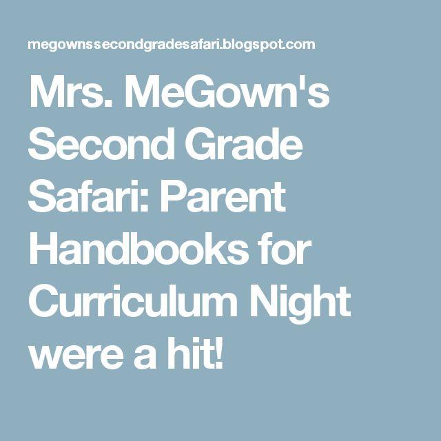Mrs. MeGown's Second Grade Safari: Parent Handbooks for Curriculum Night were a hit!