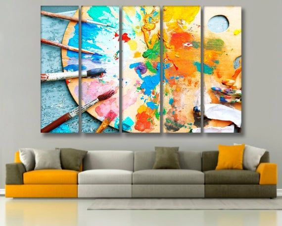 Palette And Brush Art Colorful Wall Art Colorful Wall Decor