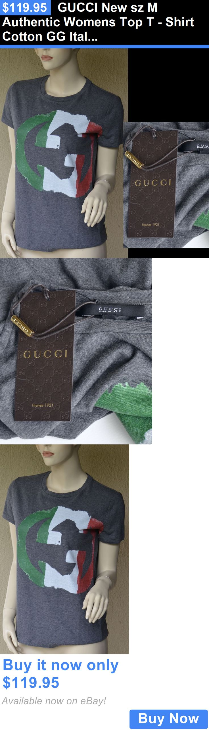 Women T Shirts: Gucci New Sz M Authentic Womens Top T - Shirt Cotton Gg Italian Flag Colors BUY IT NOW ONLY: $119.95