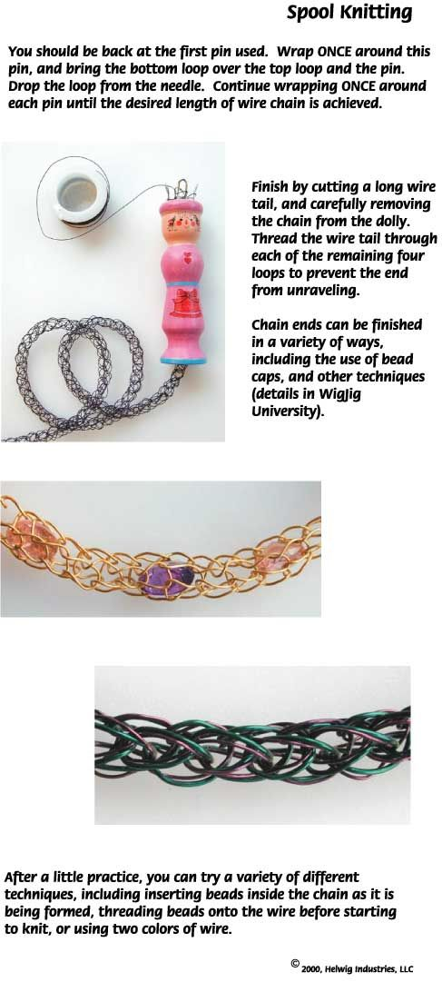 Free instructions for making a knitted chain using the spool knitter jewelry tool