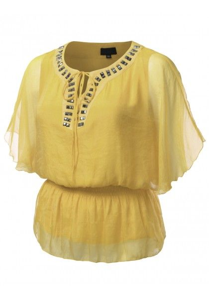 Loose Smocked Peplum with Jeweled Collar and Chest #jtomsonplussize