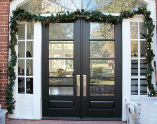 two toned modern double door and sidelights are a great contrast and compliment each other