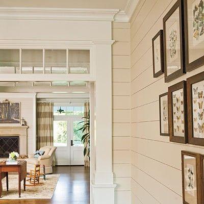 shiplap walls (cream), with transom windows & crown molding, dark wood frames**********LOVE****************