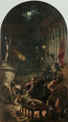 TIZIANO 1548 martirio di San Lorenzo Chiesa dei Gesuiti, Venezia, SCUOLA VENEZIANA