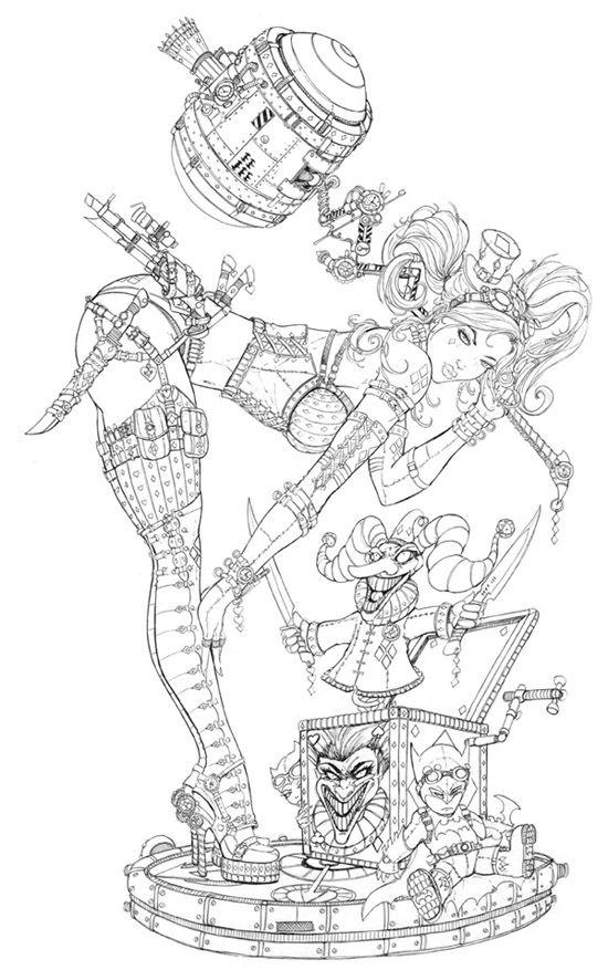 Steam Punk Harley Quinn Line art by *jamietyndall on deviantART