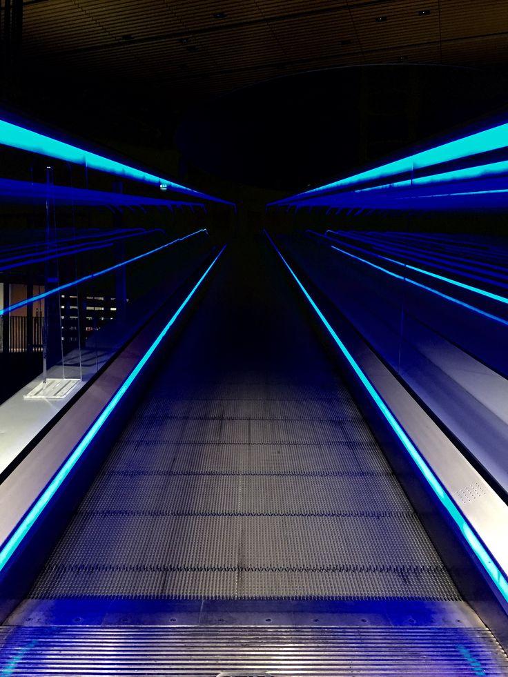 Birmingham Library at night.