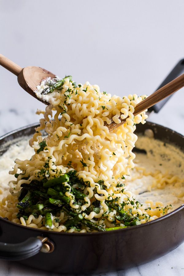 Simple Lemony Feta and Mascarpone Pasta with Grilled Asparagus. - Half Baked Harvest