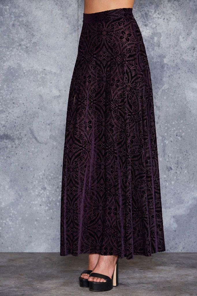 Burned Velvet Aubergine Single Split Maxi Skirt - LIMITED ($99AUD) by BlackMilk Clothing