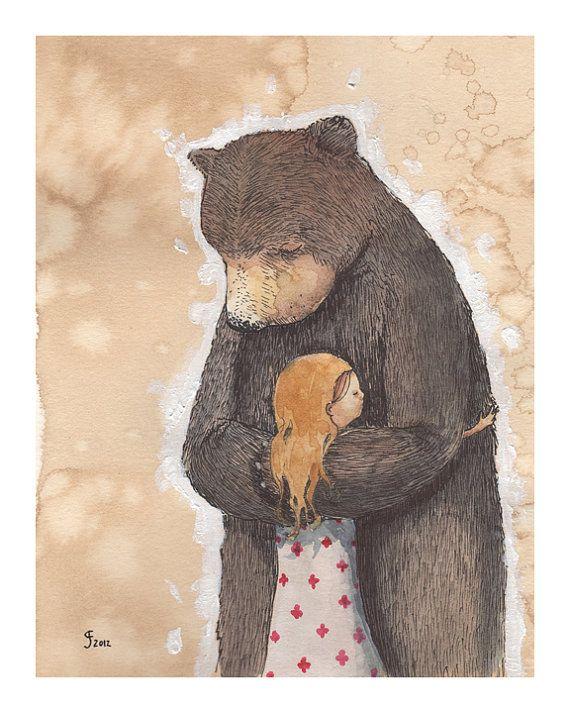 Bear Hug limited edition giclee print by grahamfranciose on Etsy