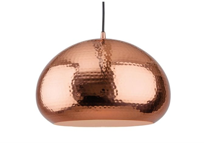 The Amaya pendant light is right on trend, with its shiny metallic finish. The outside of the large pebble shaped shade is highly polished, subtly dimpled for a stylish 'beaten' look. The inside has a matt finish.  Choose between a shiny ...