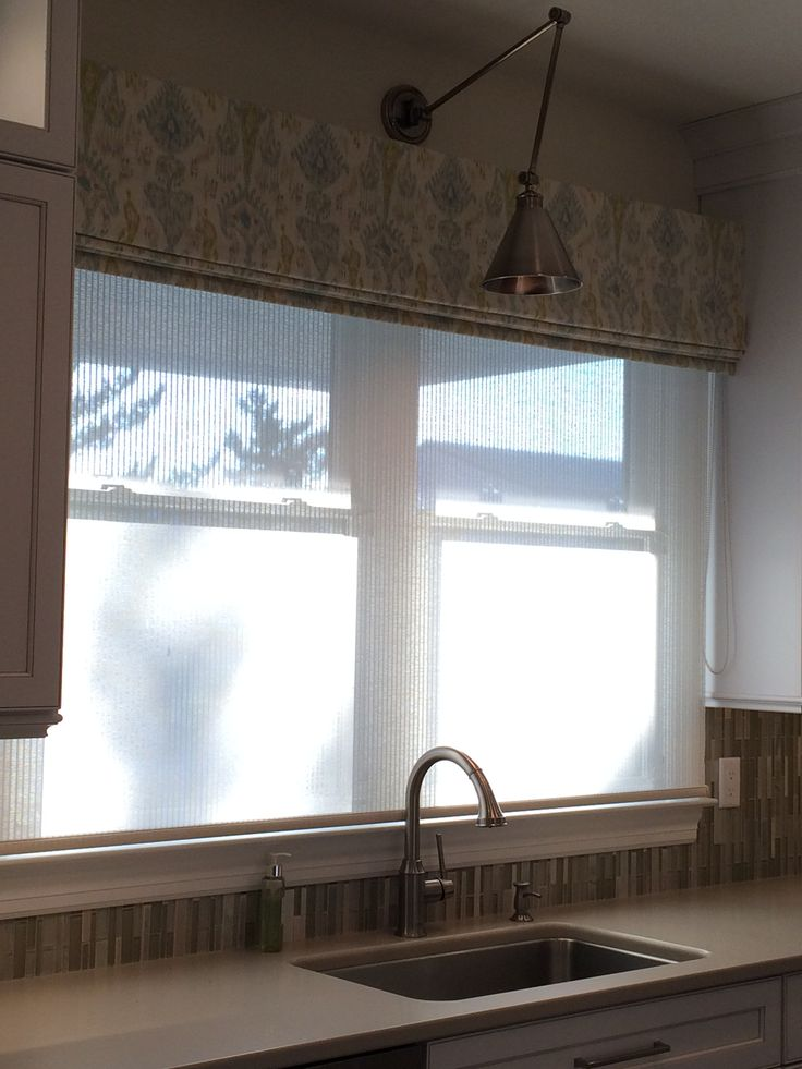 ikat fabric valance over translucent woven shade on kitchen sink window library sconce task