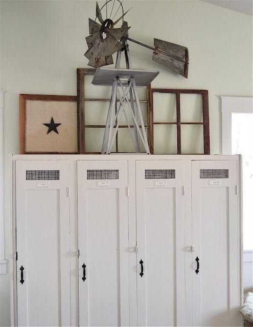Awesome lockers!kira muller via Urban Farmgirl onto home: rustic, casual, neutral, seasoned, weathered