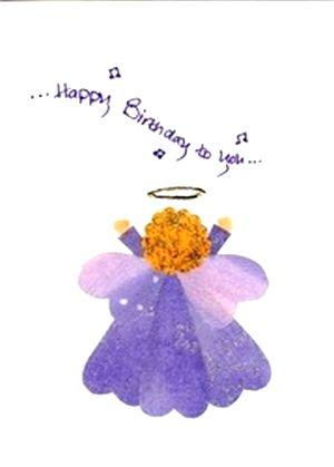 Original Fabric Hearts Angel Birthday Greeting Card Birthday Greeting Cards Fabric Hearts Birthday