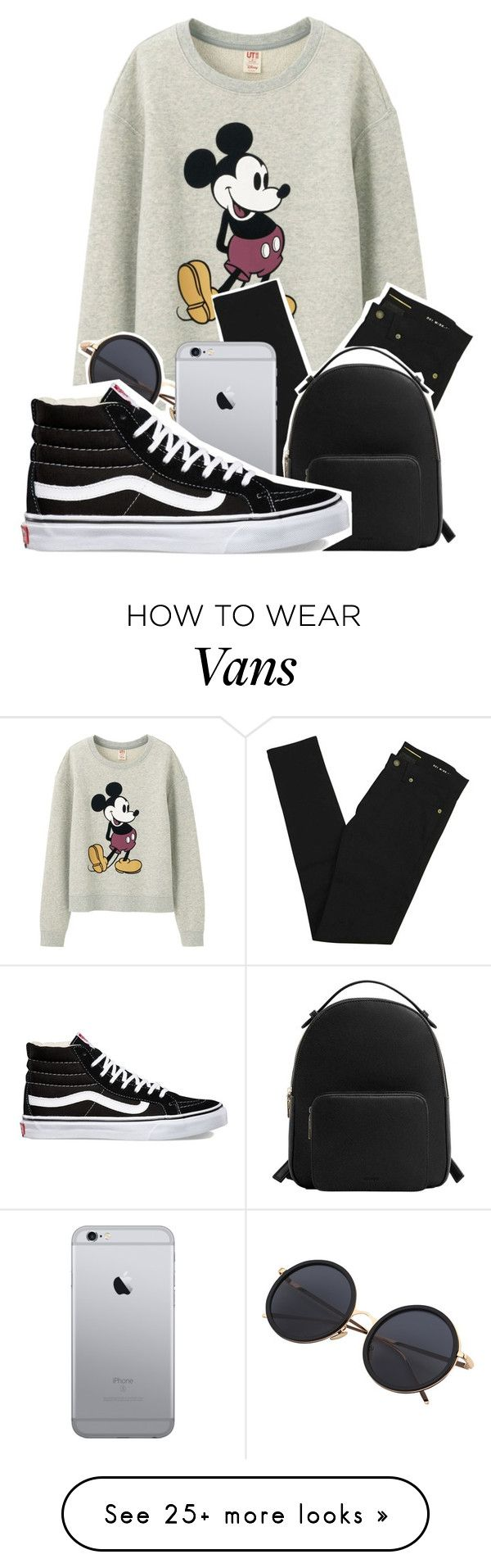 """Untitled #4"" by kimiaki on Polyvore featuring Uniqlo, Yves Saint Laurent, MANGO and Vans"
