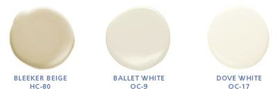 Benjamin Moore colors: Bleeker Beige HC 80, White Dove OC 17, Ballet White OC-9  exterior paint: Wall Color, White Wall