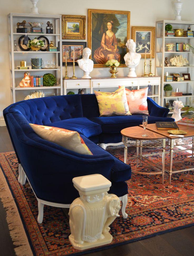 Vintage Blue Velvet Curved Sofa From Parker Kennedy
