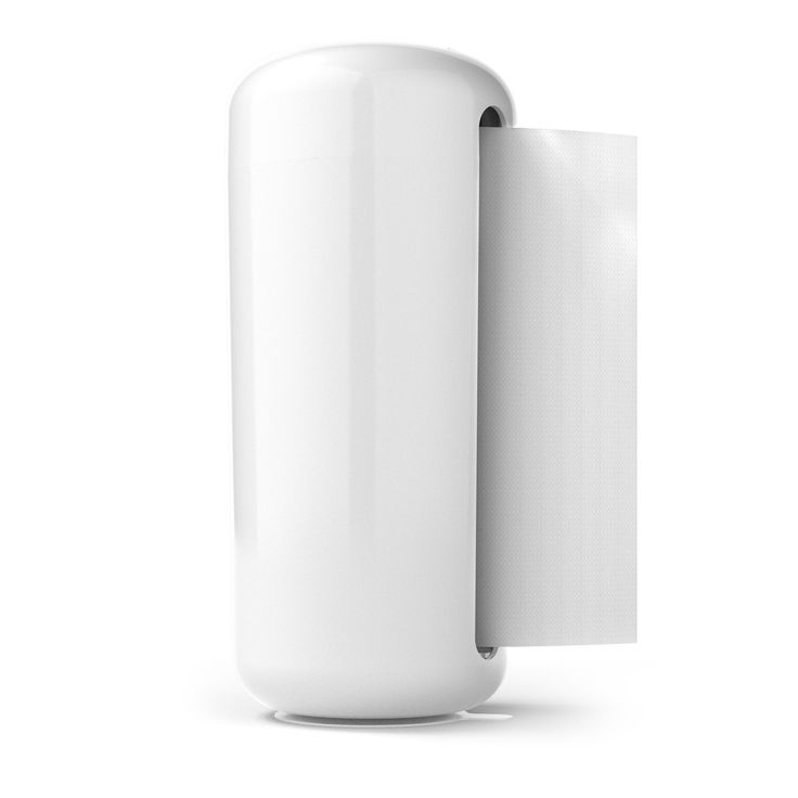 Contemporary White Paper Towel Holder - cleverly concealing the roll. Has a suction cup base that keeps the holder in place as you pull out each sheet—so your counter remains clean and uncluttered.