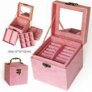 3 capas de piel de venado de maquillaje conjunto de herramientas bolsa de almacenamiento caja de la joyería orgnizer