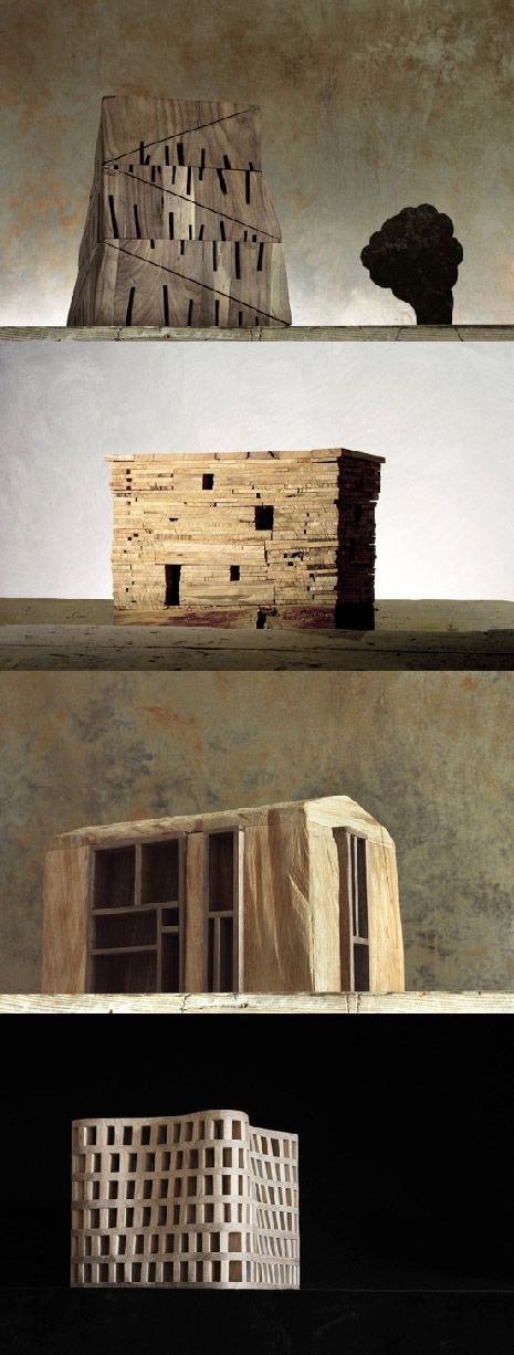 Michele De Lucchi - Architekturchen, wooden models (architectures de bois) 2010