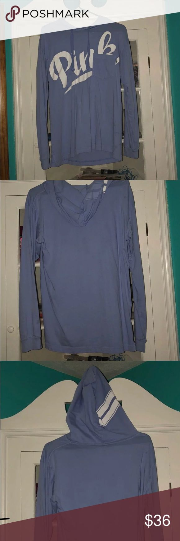 pink-victoria's secret shirt lilac purple long sleeve brand pink t shirt with pocket strings and hood size small. great condition- never worn. a good option to wear with jeans and sneakers or sandals out with friends. open for offers no trades and i will mark prices down on a bundle. PINK Tops Tees - Long Sleeve