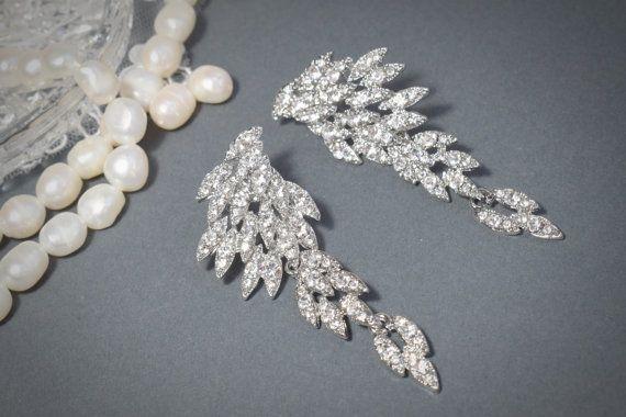 Angel Wing Bridal earring Drop Dangle Earring by Mkedesignwedding