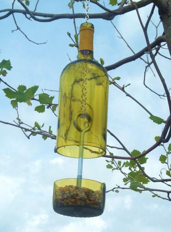 Yellow Wine Bottle Bird Feeder by GroovyGreenGlass on Etsy, $25.00