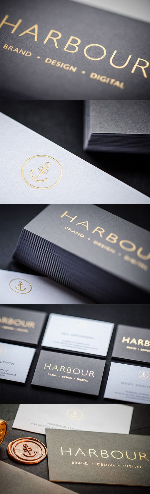 This set of business cards has a stylish and professional look brought on by a combination of minimalist styling, controlled use of gold foiling and a black and white colour scheme.