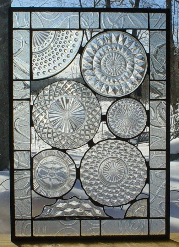 Gorgeous leaded glass panel using depression glass plates