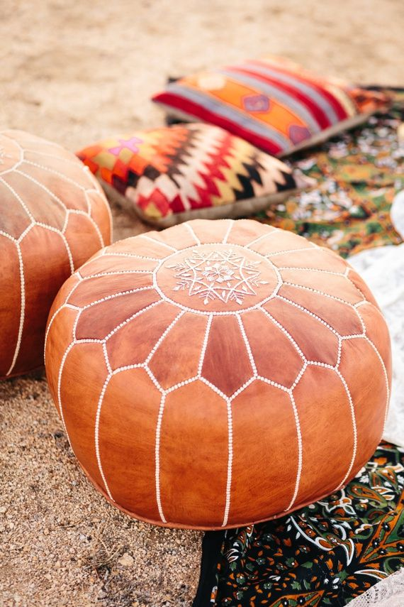 Moroccan leather poofs |  Photo by Jodee Debes Photography | Read more -  http://www.100layercake.com/blog/wp-content/uploads/2015/04/Desert-Coachella-wedding-inspiration