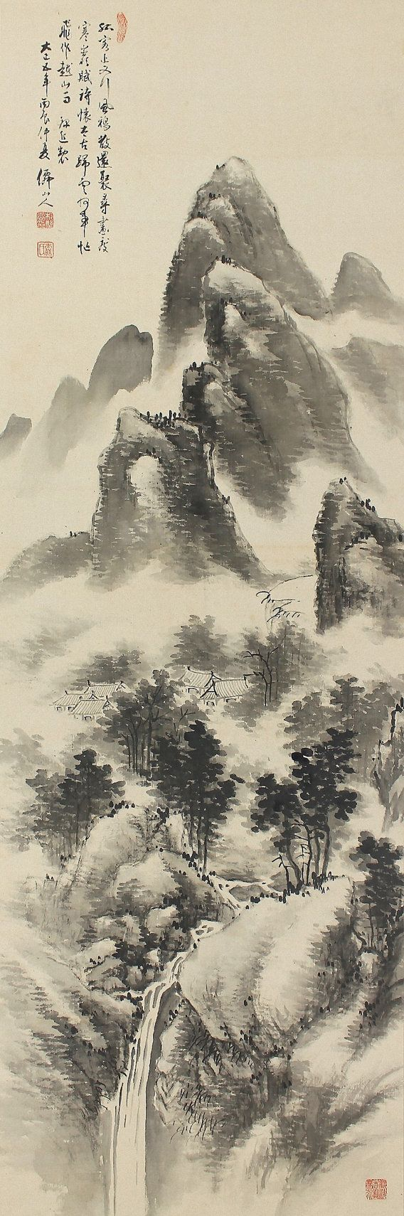 Inkwash Landscape. Japanese Hanging Scroll Kakejiku.