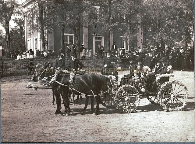 Parade, late 1890's/early 1900's.  Court square Dresden Tn.  The old courthouse in the background burnt down in 1948 and had to be replaced.