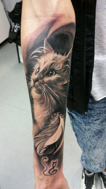 Cat Portrait Tattoo by Adam at Holy grail tattoo Studio