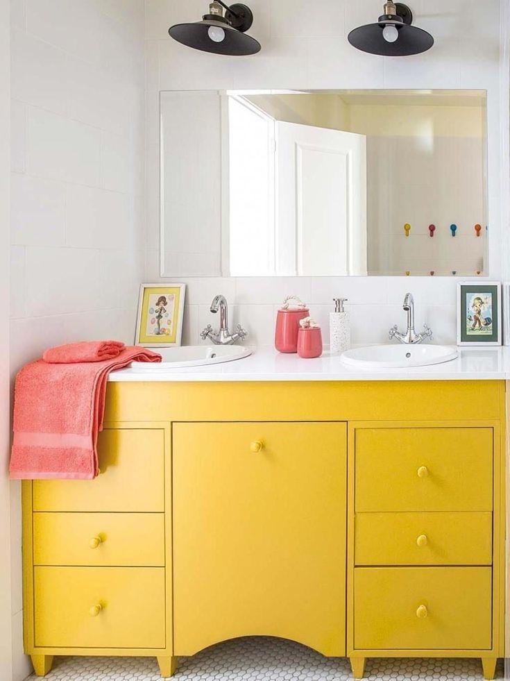 Yellow Bathroom Vanity Nicheh Yellow Bathroom Decor Yellow Bathrooms Kid Bathroom Decor