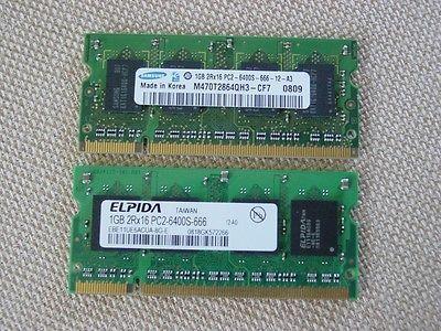 2 GB 2x1 GB Samsung & Elpida RAM for Early 2008 iMac & Mid 2009 MacBook PC2-6400