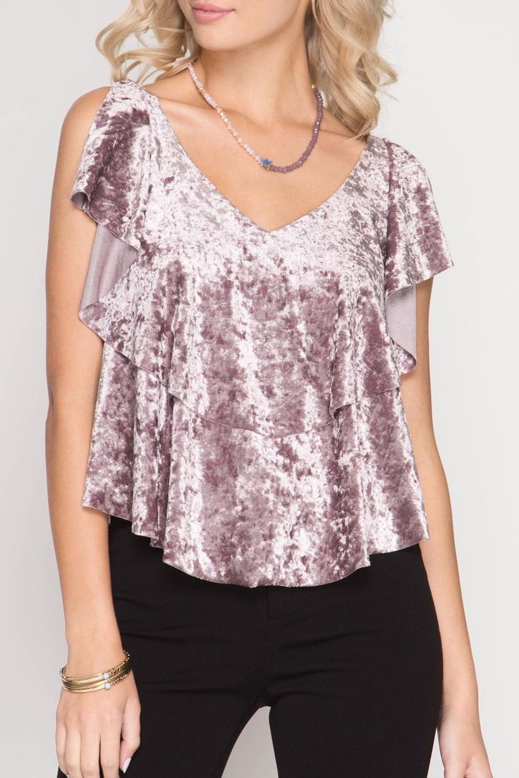 Ruffled sleeve crushed velvet top with back strap.   Crushed Velvet Top  by She + Sky. Clothing - Tops - Blouses & Shirts Seattle , Washington