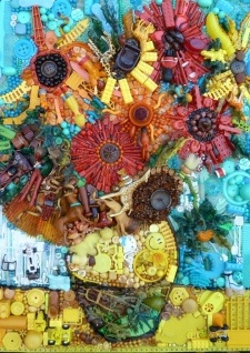 Sunflowers, after Van Gogh. British artist Jane Perkins creates beautiful works of art using everyday objects like marbles, toys or buttons picked up from recycling centers, second-hand shops and junkyards. Edges junk art Visual Texture and edges Suitable to aid with GCSE Question like Textures or Edges
