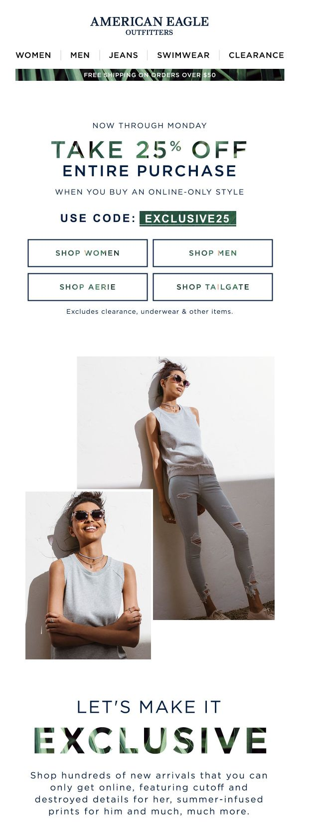 """4.9.17 american eagle """"Shop online-exclusives & take 25% off!"""""""