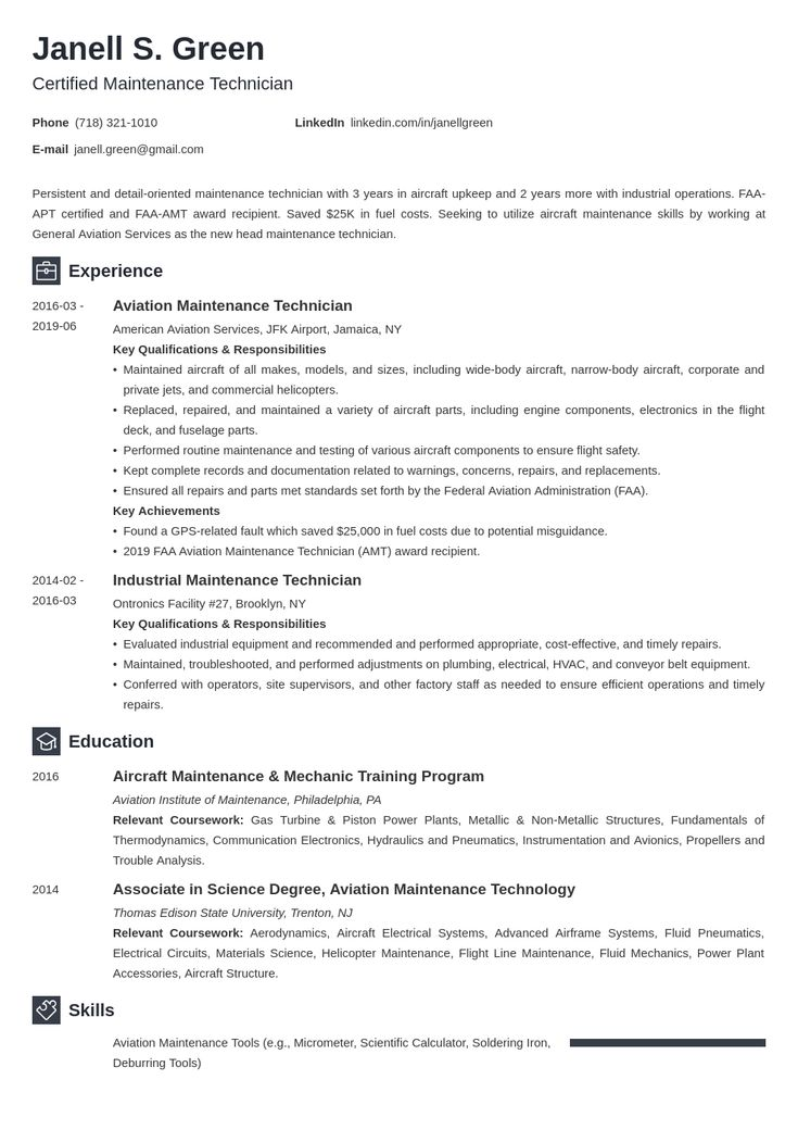 Maintenance Technician Resume Example Template Newcast Job Resume Examples Resume Examples Resume Layout